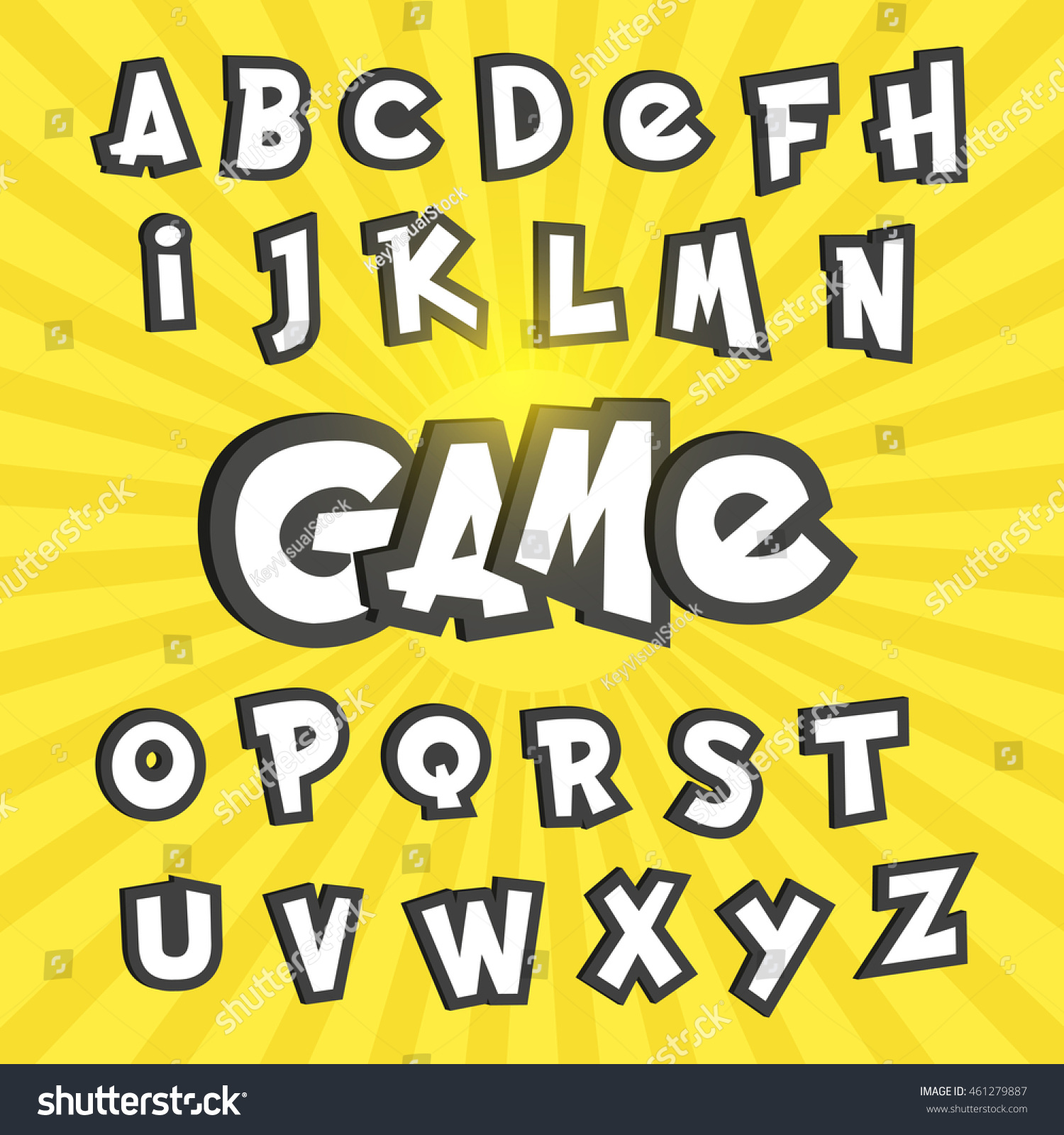 Go Style Template | Alphabet Letters Pokemon Go Cartoon Style Vector De Stock461279887