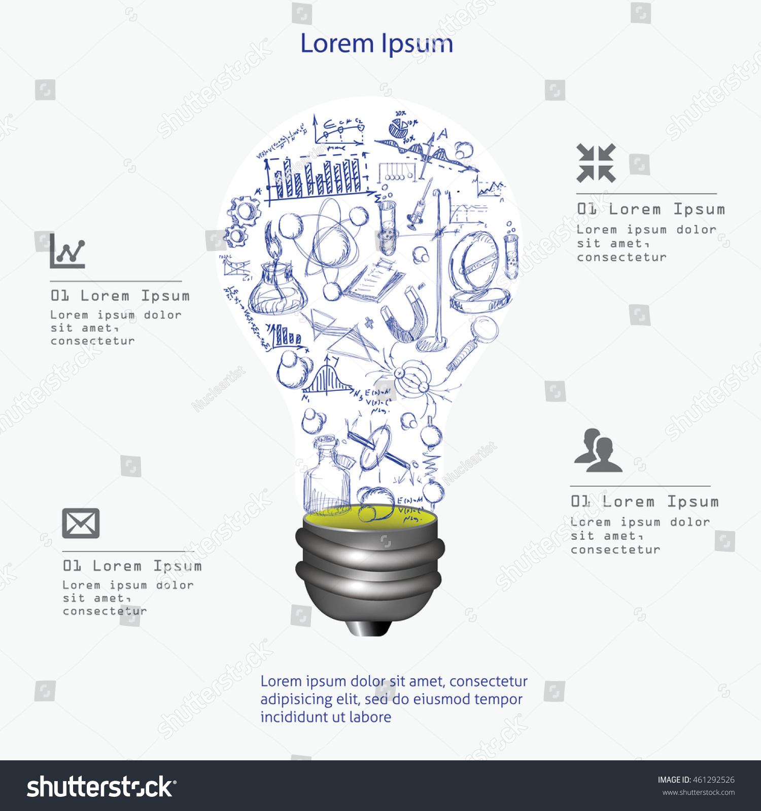 Light Bulb Drawing Science Symbols Vector Stock Royalty Free Lighting Diagram And