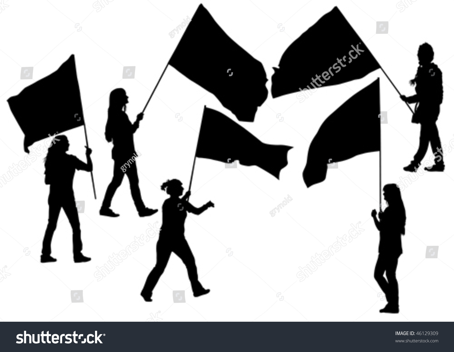 Vector Drawing Demonstrator Crowd Flags Stock Vector (Royalty Free