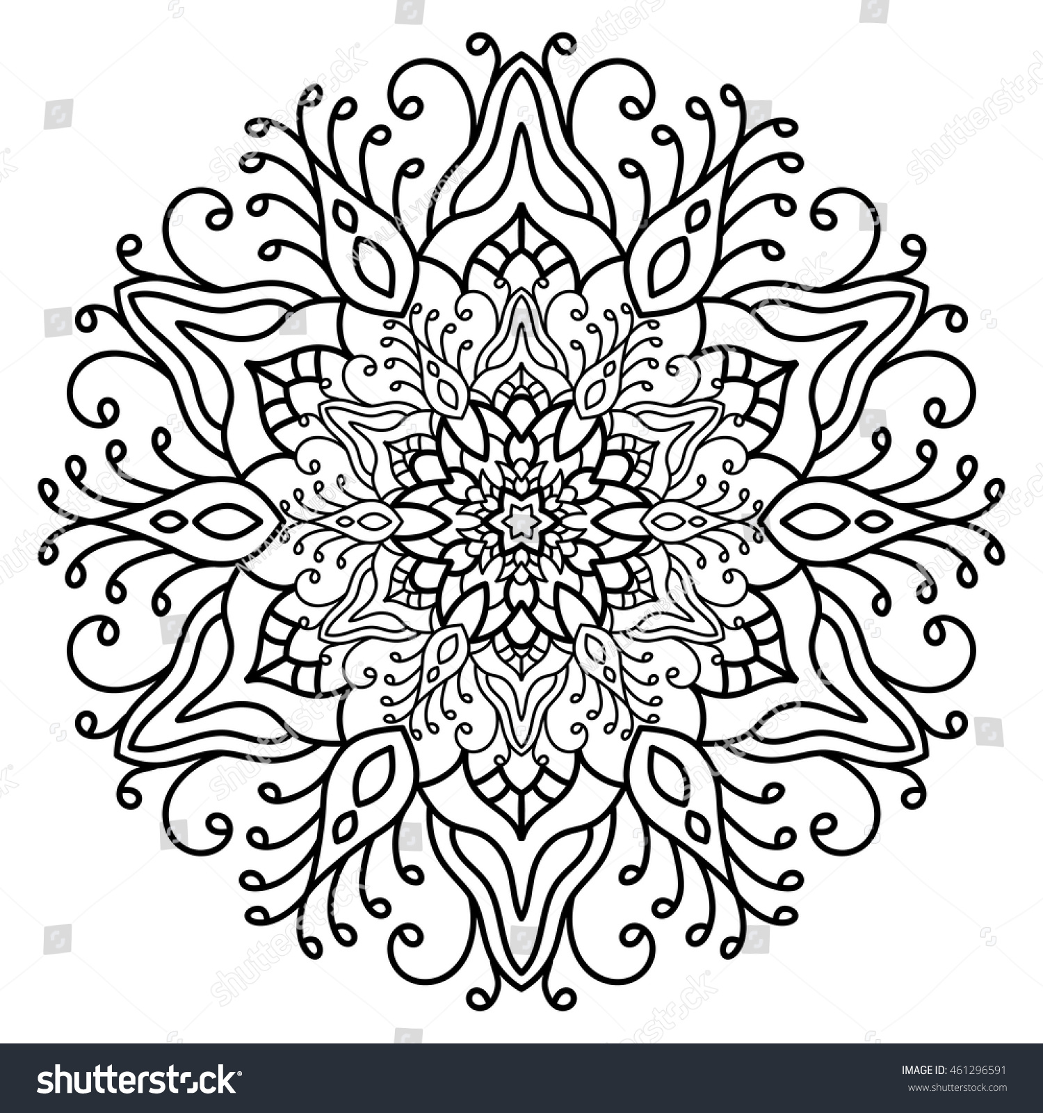 vector illustration outline mandala abstract element stock