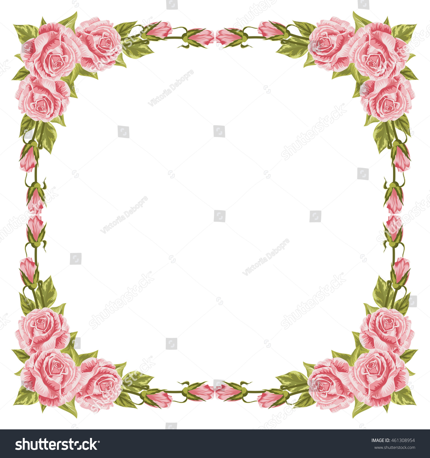 Floral round frame from cute flowers. Greeting card template. Design ...