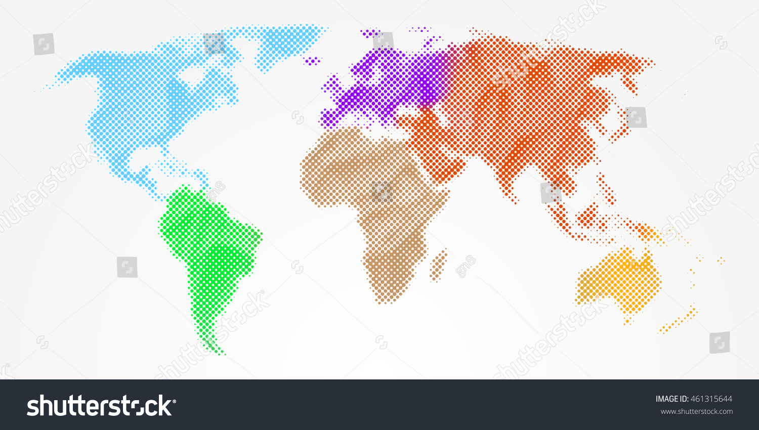 Abstract colorful bright halftone world map stock vector 461315644 abstract colorful bright halftone world map different continents vector isolated eps 10 gumiabroncs Images