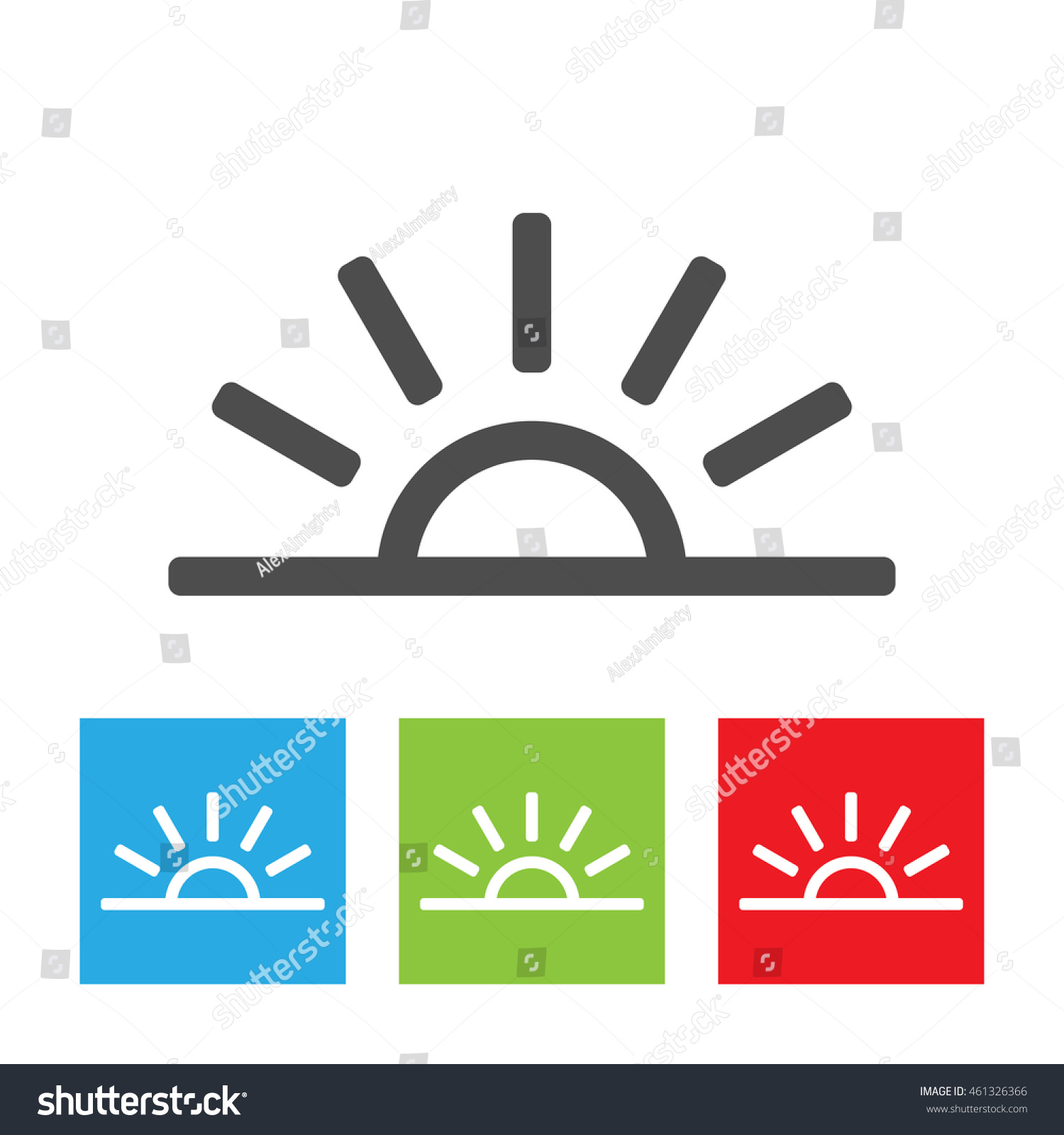 Sun Icon Simple Half Sun Abstract Stock Illustration 461326366