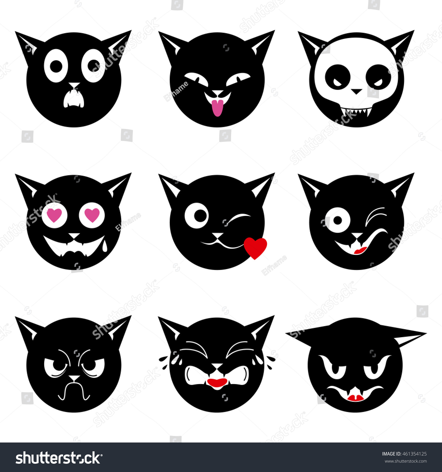 Set Black Cat Emoticons Halloween Stock Vector 461354125 ...
