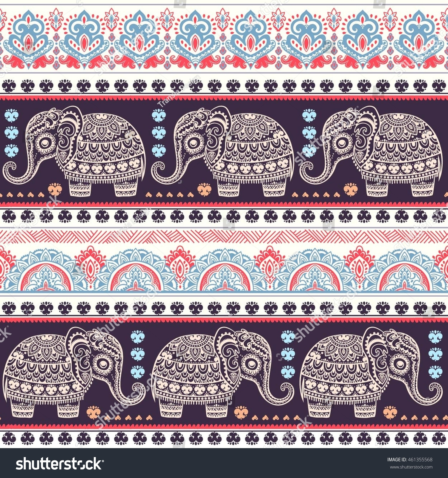 Vintage graphic vector Indian lotus ethnic elephant African tribal ornament Can be used for a coloring book textile prints phone case greeting card
