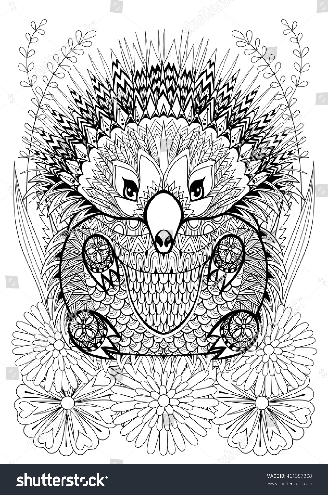 zentangle stylized echidna flowers hand drawn stock vector