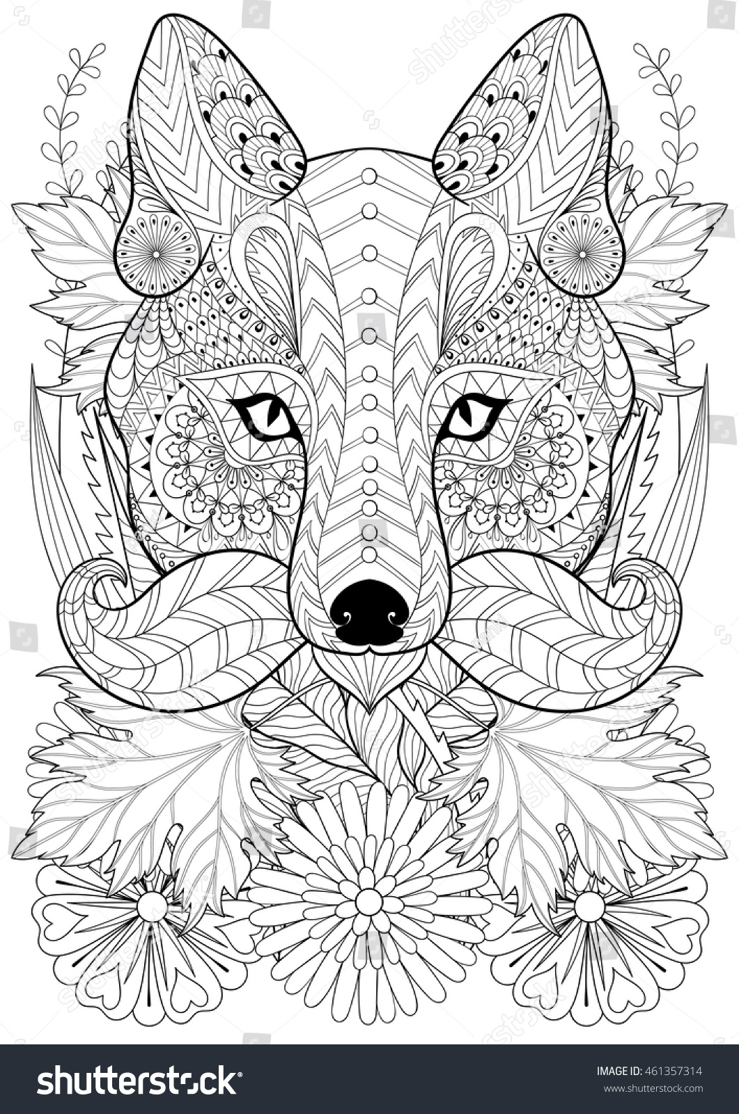zentangle stylized fox with moustache on flowers hand drawn ethnic animal for adult coloring pages - Art Therapy Coloring Pages Animals