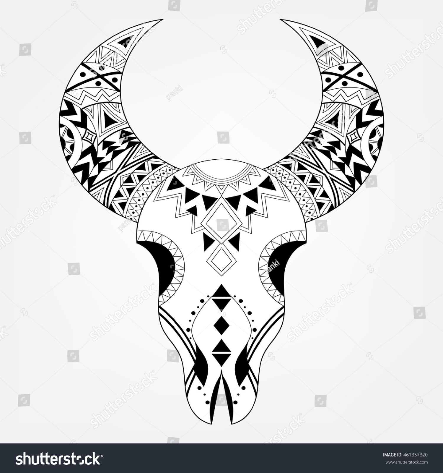 zentangle animal skull tribal style freehand stock vector