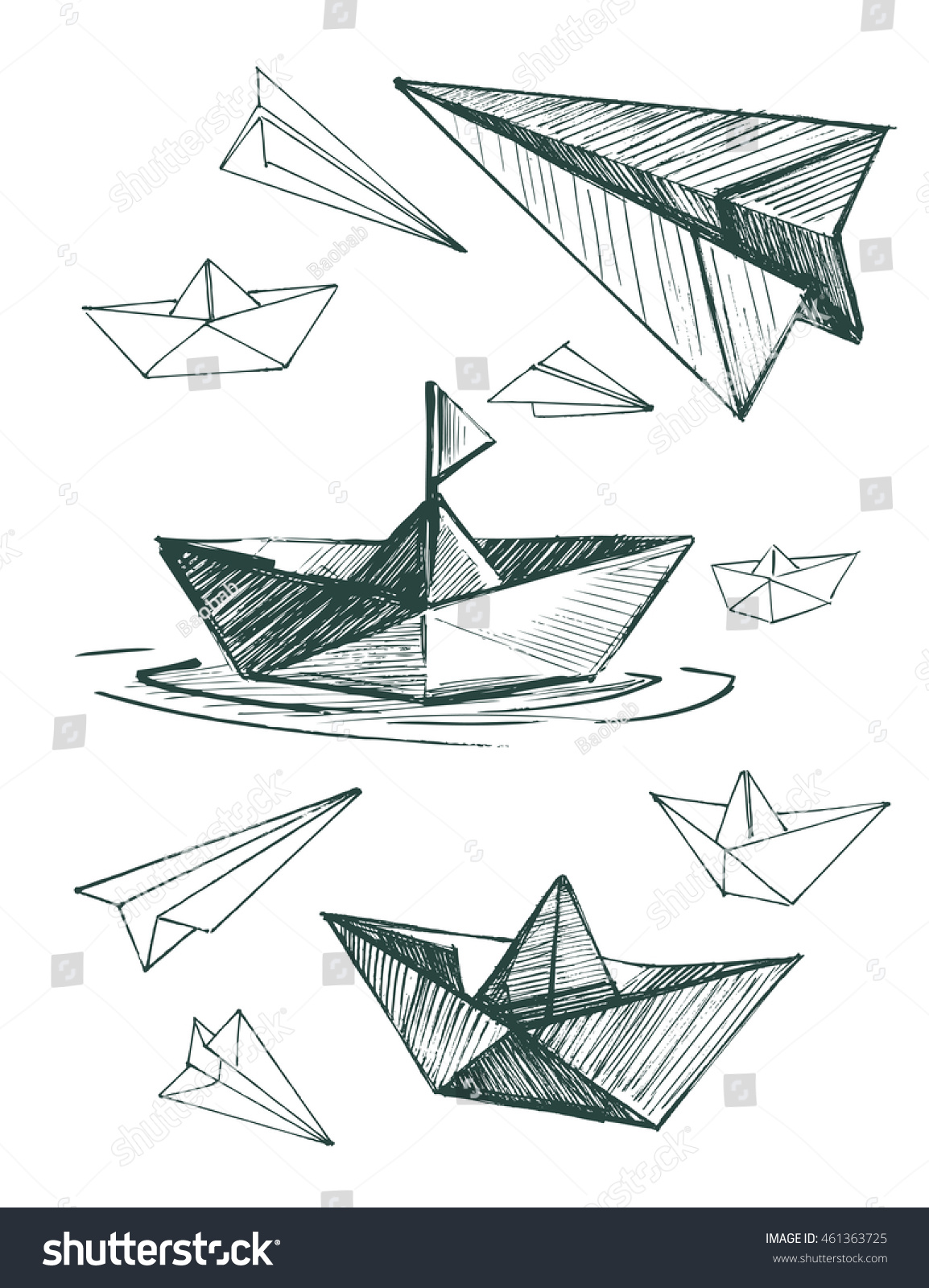 Paper Boats And Planes Set Vector Sketch