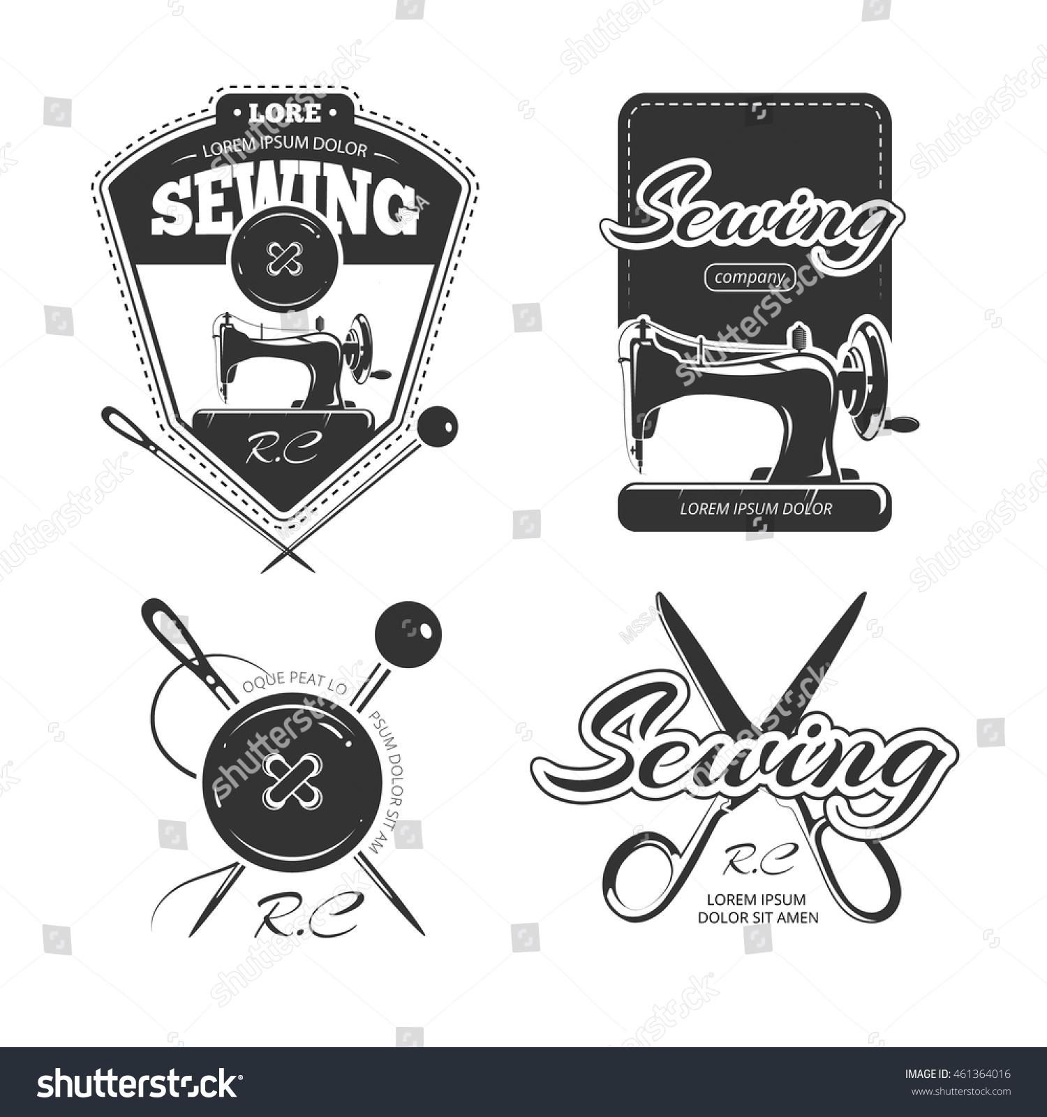 Tailor Shop Retro Vector Logo Badges Stock Vector (Royalty