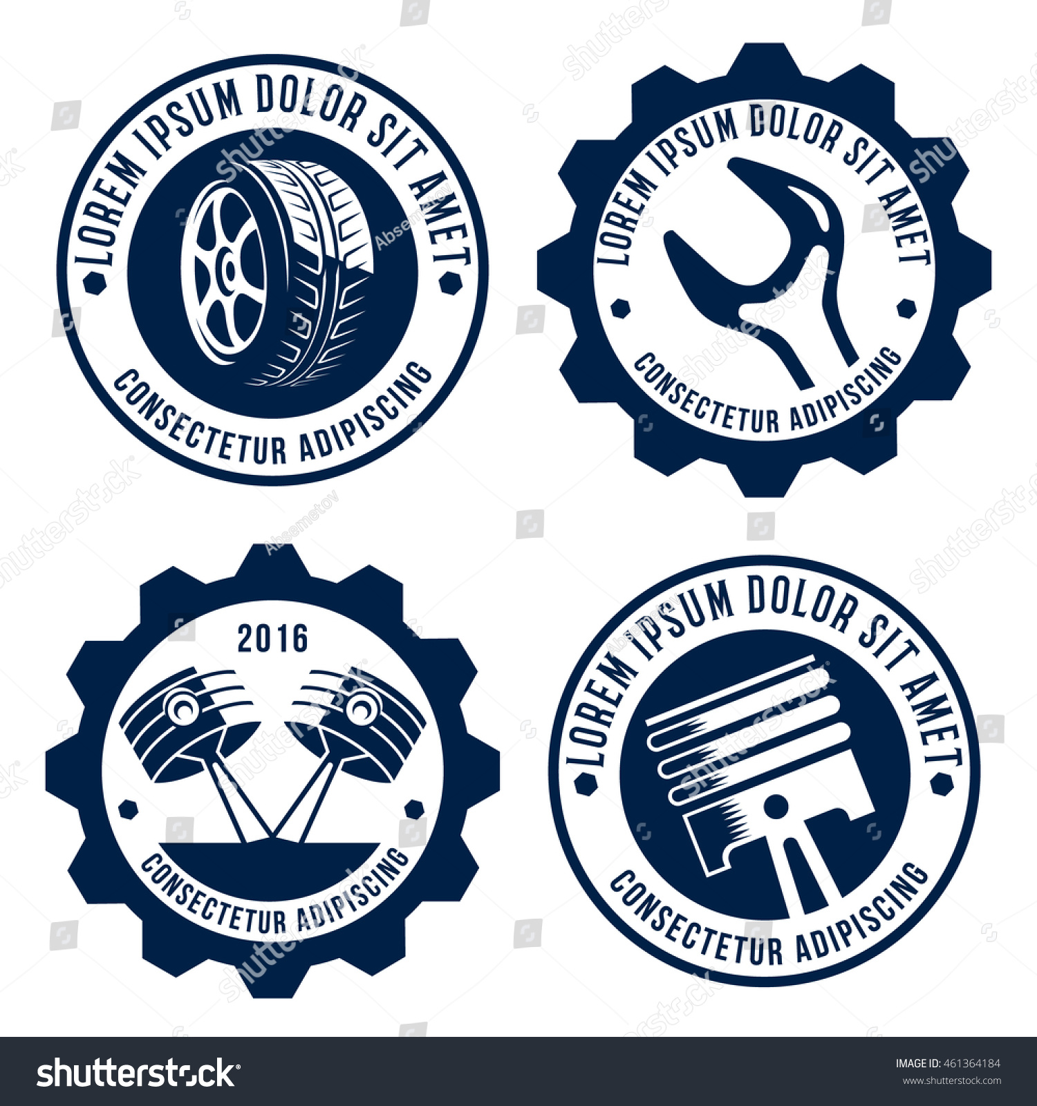 Set Car Related Signs Logos Icons Stock Vector - Car signs logos