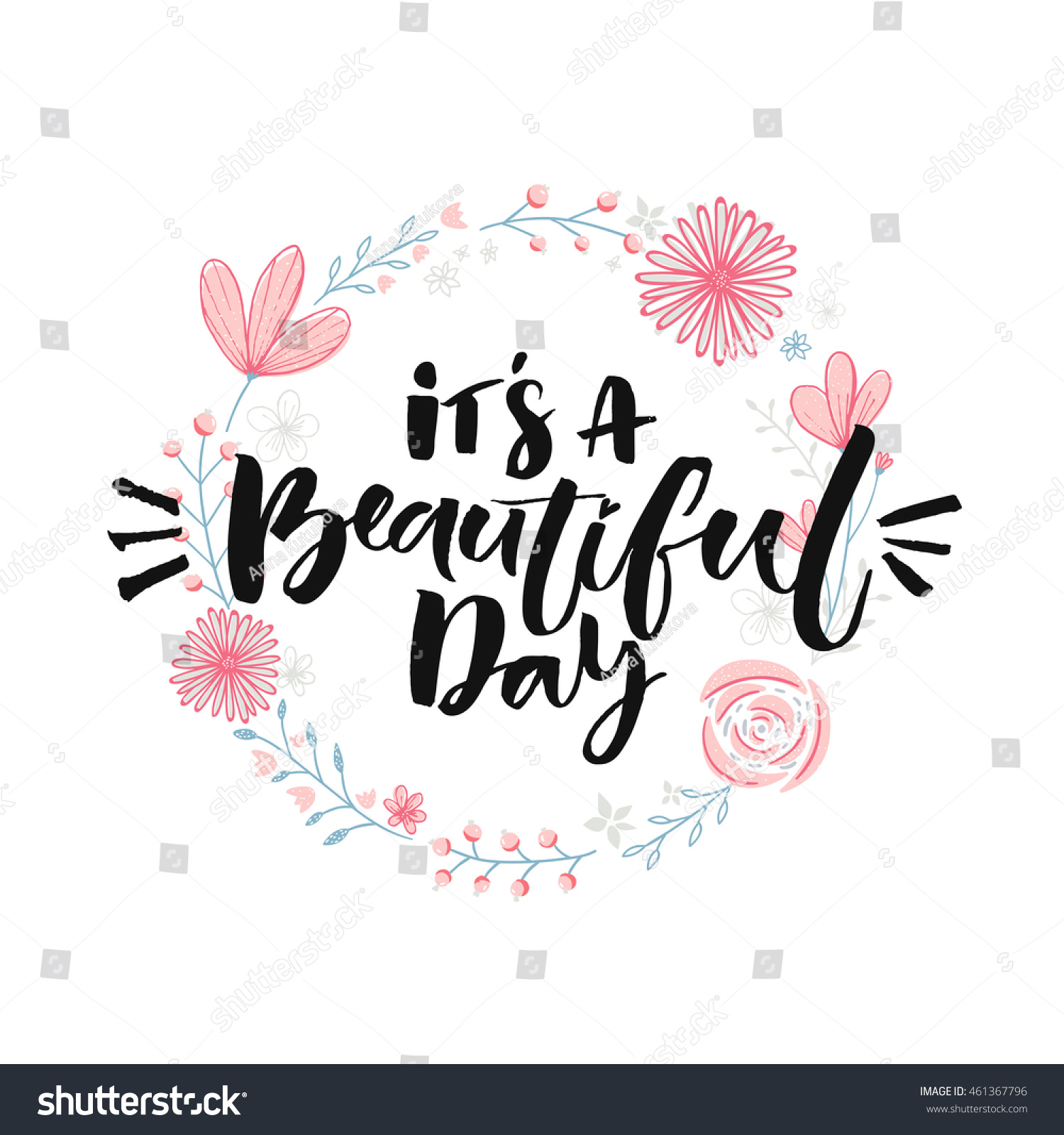 Beautiful Day Brush Lettering Floral Wreath Stock Vector Royalty