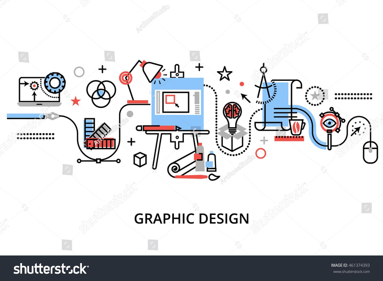 Calendar Concepts Graphic Design : Modern flat thin line design vector stock