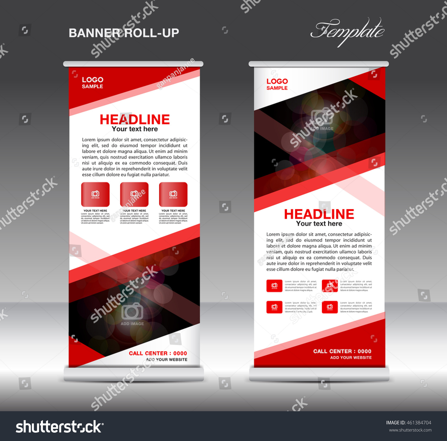 red roll banner template vector standy stock vector  red roll up banner template vector standy design display advertisement flyer for business