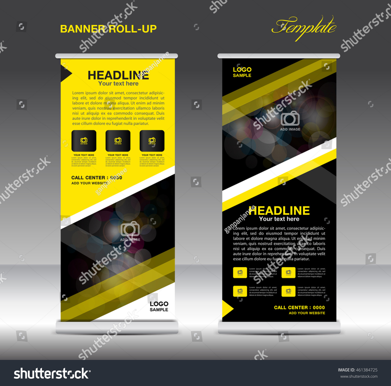 yellow black roll banner template vector stock vector 461384725 yellow and black roll up banner template vector standy design display advertisement flyer