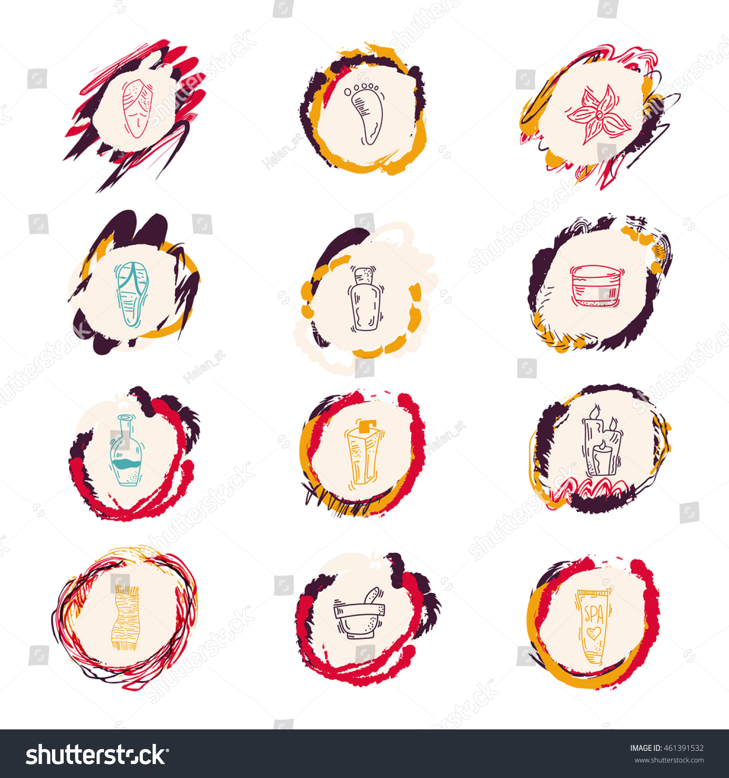 Spa Beauty Outline Web Icon Set Stock Vector 461391532 Shutterstock