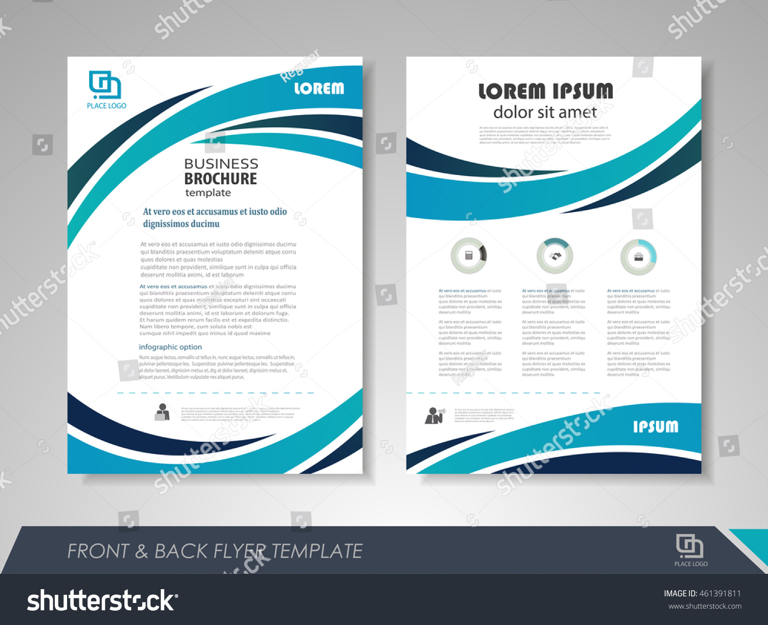 Front Back Page Brochure Template Flyer Stock Vector - 1 page brochure template