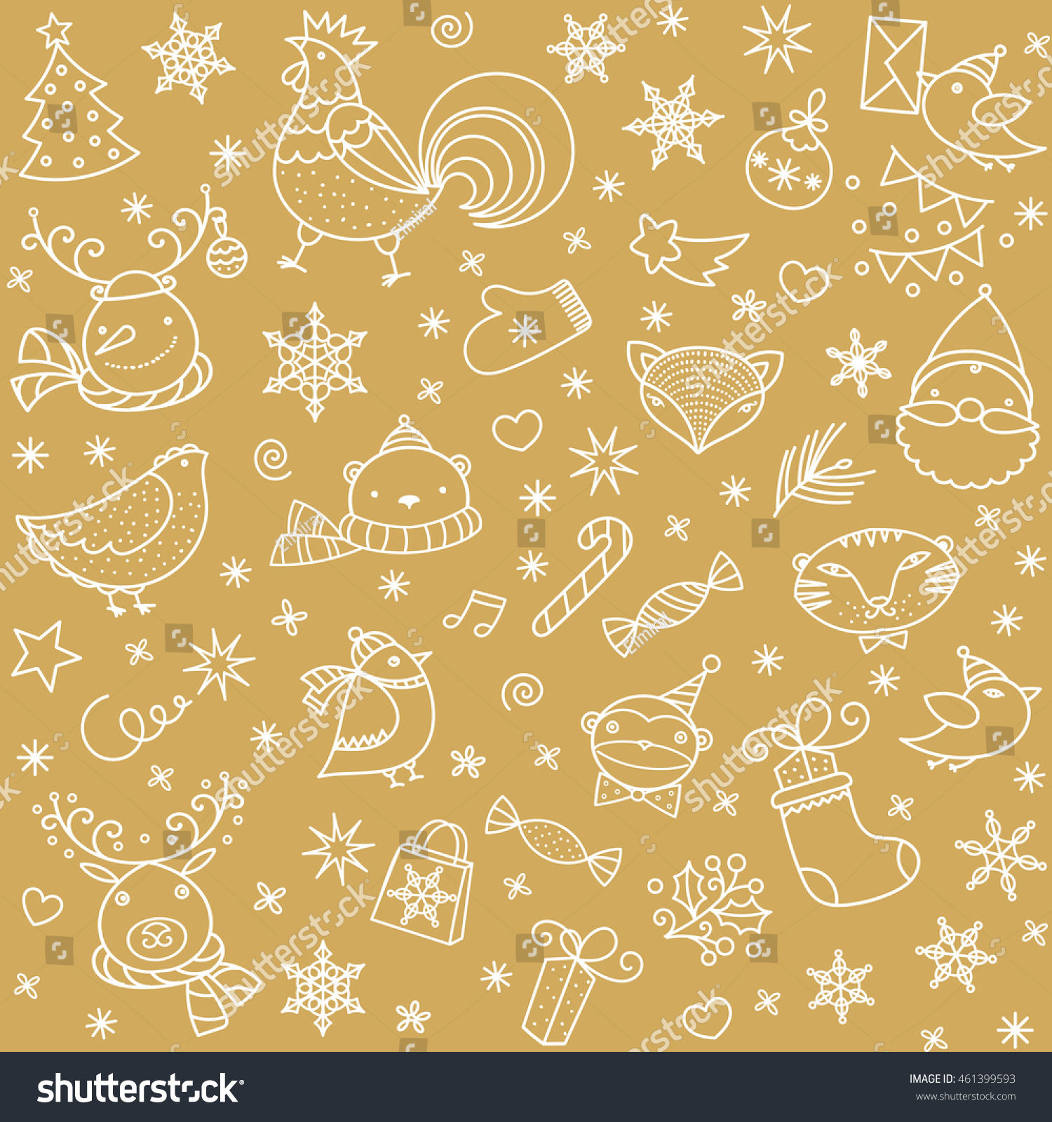 Christmas Doodle Pattern New Year Icons And Patterns Cartoon Children Animals Vector Seamless