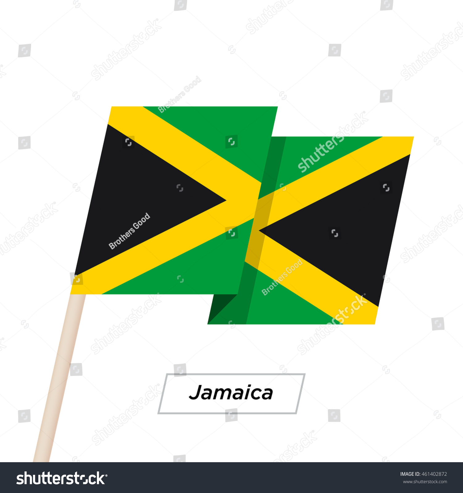 Jamaica Ribbon Waving Flag Isolated On Vector de stock461402872 ...