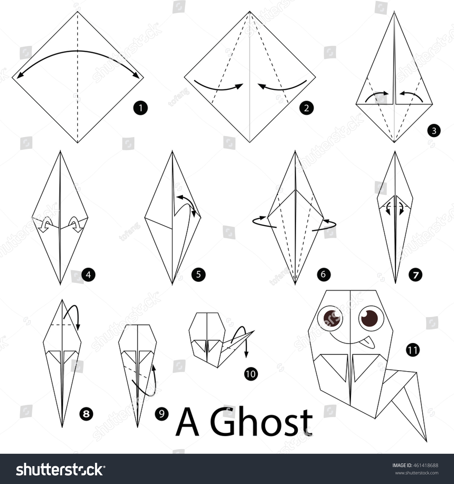 Step by step instructions how make stock vector 461418688 step by step instructions how to make origami a ghost jeuxipadfo Choice Image