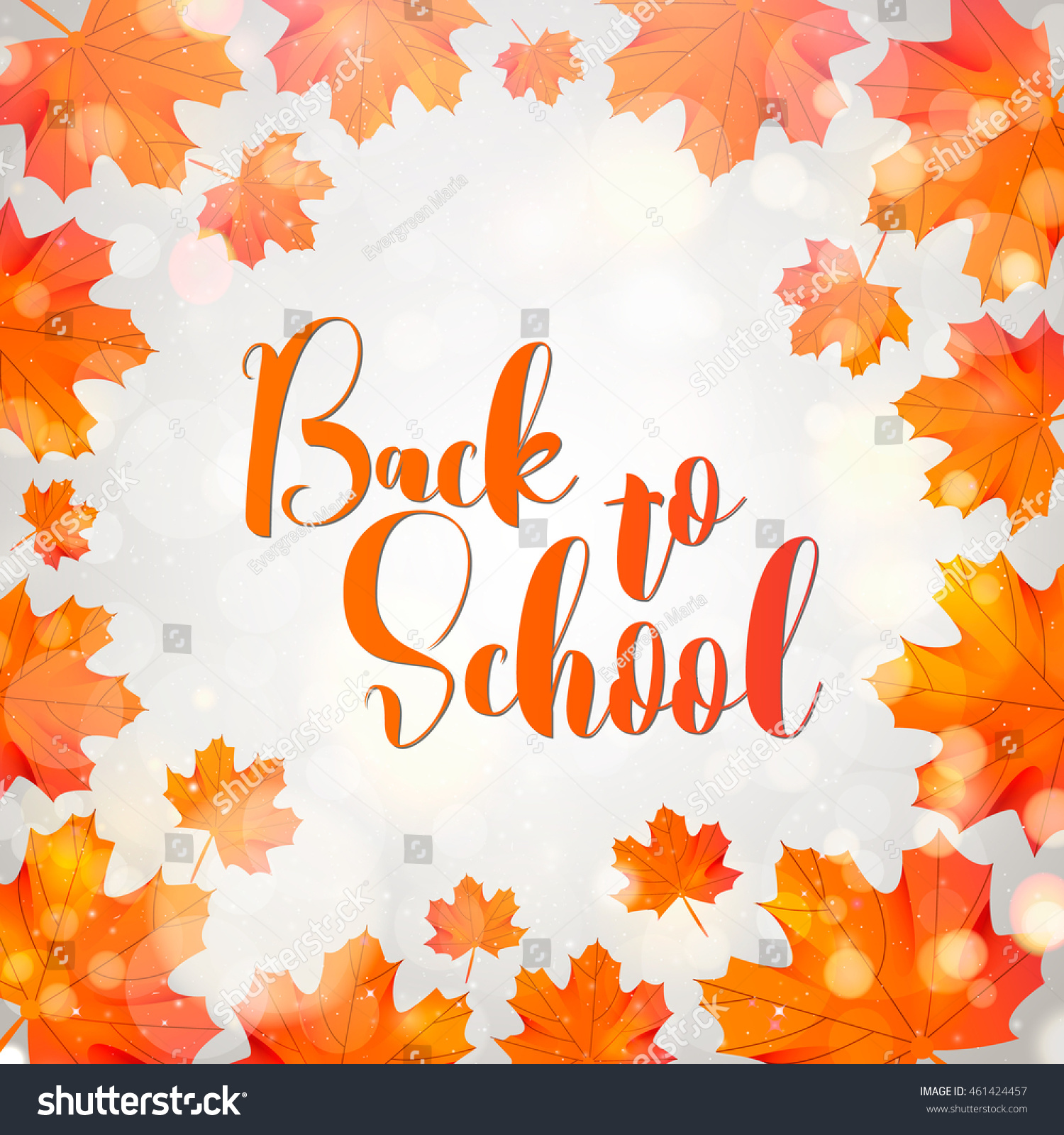 Welcome Back To School Typographical Background With School Icon
