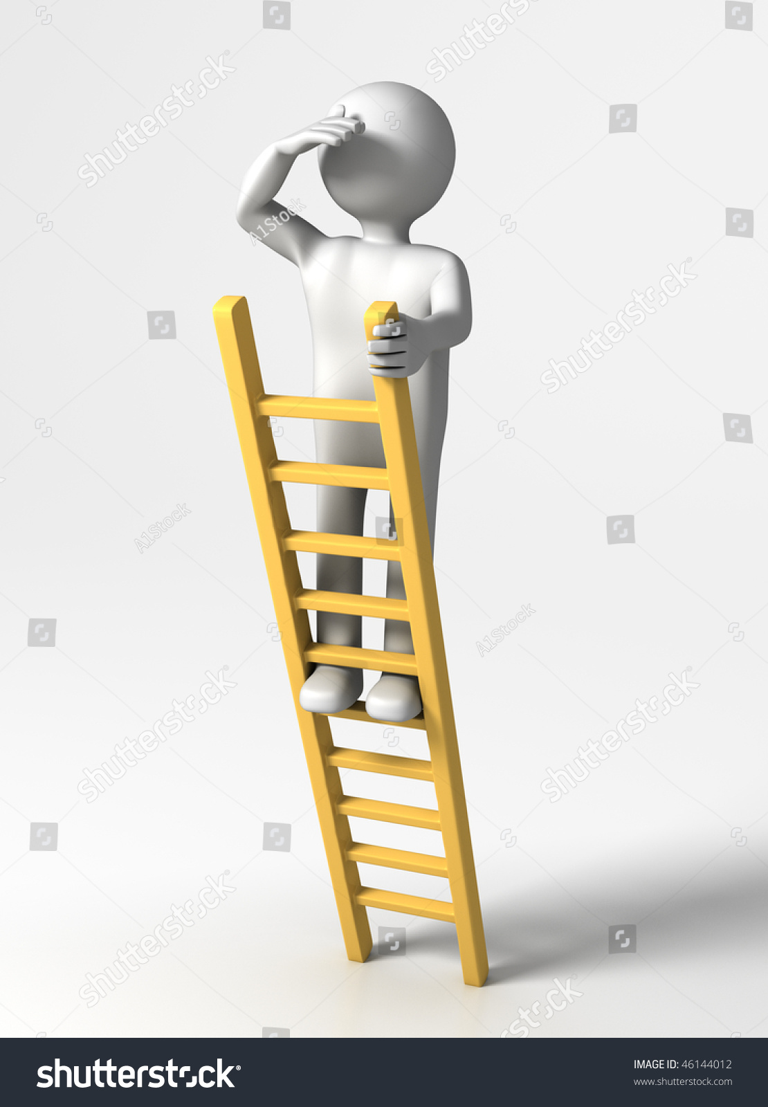 Looking ahead 3d person top ladder stock illustration 46144012 looking ahead 3d person at top of ladder looking far thecheapjerseys Image collections
