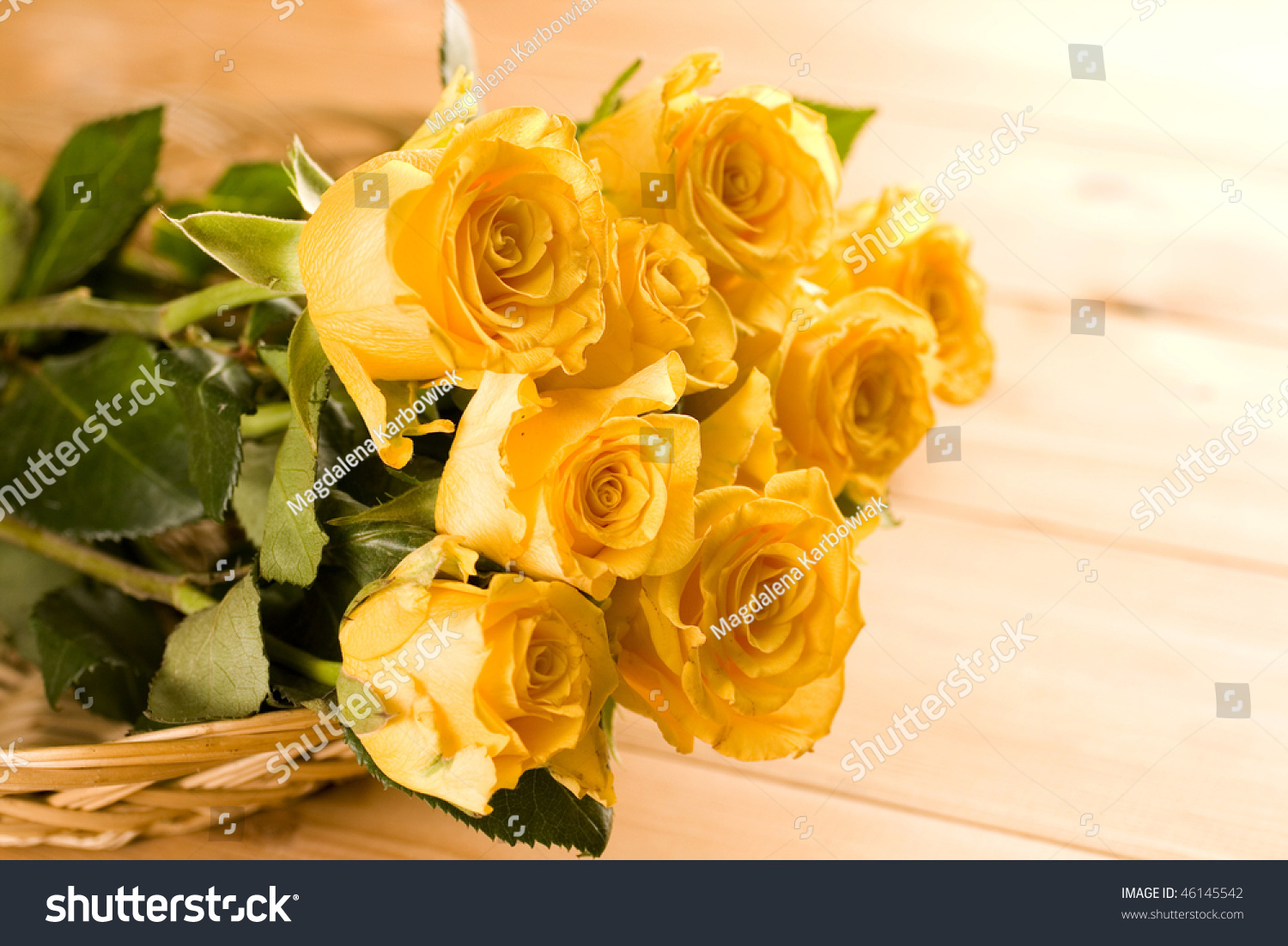 Bunch Yellow Roses Stock Photo Edit Now 46145542 Shutterstock