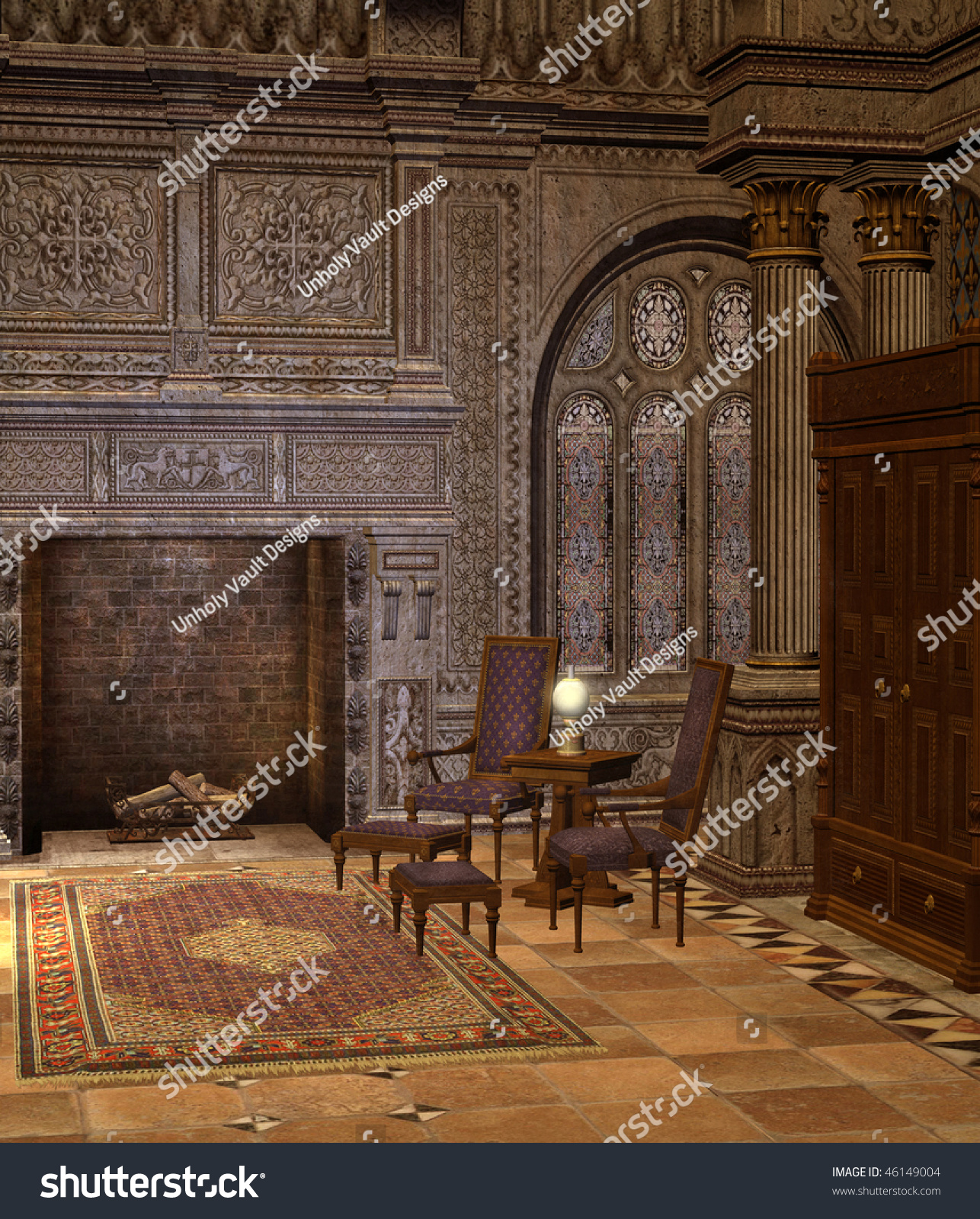old library fireplace chairs stock illustration 46149004