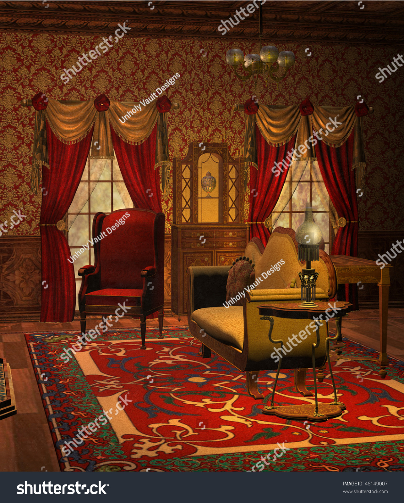 Fantasy Living Room With A Sofa