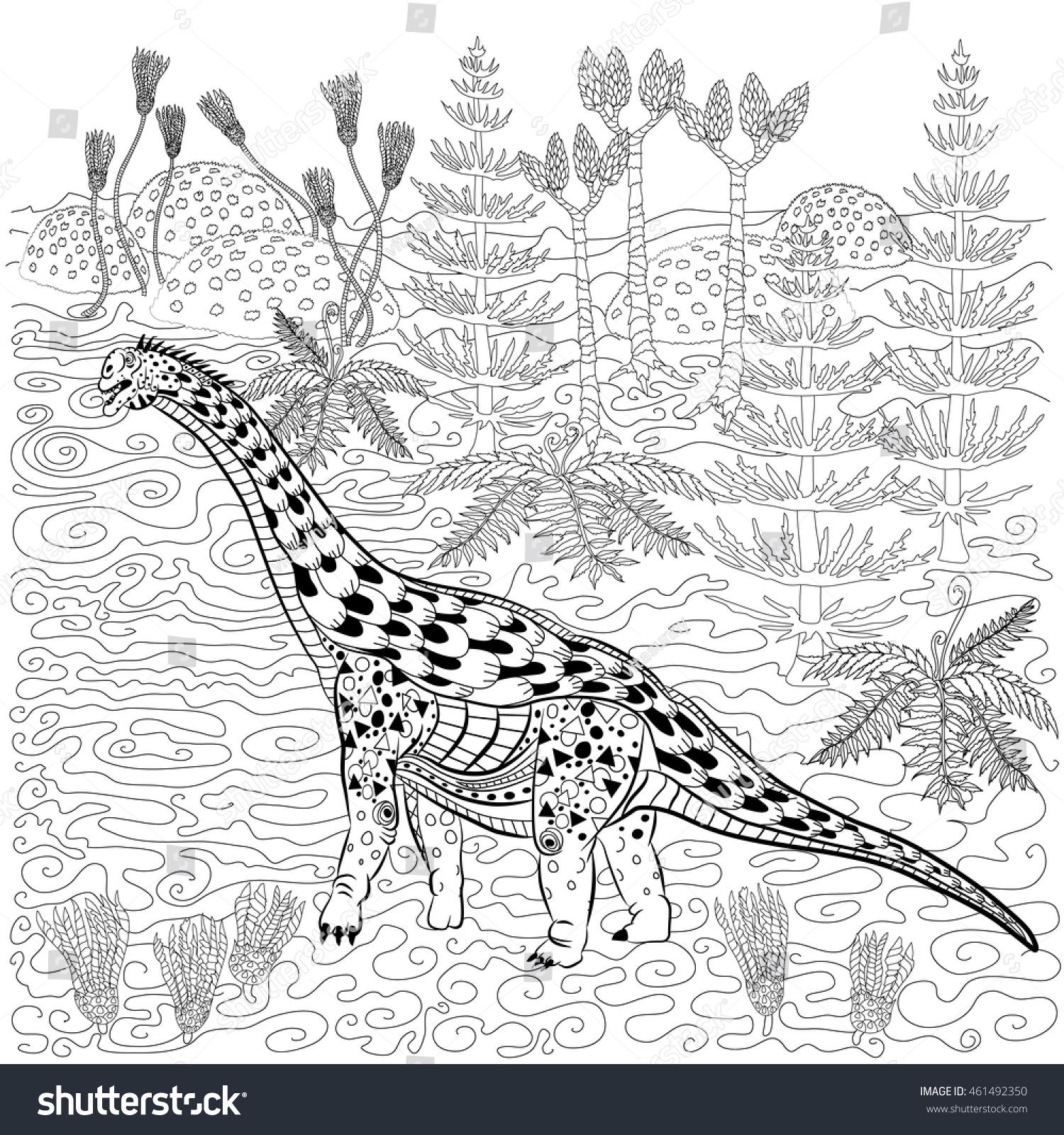 Diplodocus Prehistoric Reptile Nature Antistress Coloring Stock