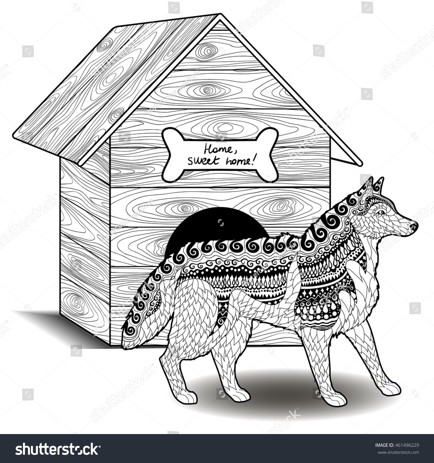 Dog Standing Front Doghouse Adult Antistress Stock Vector (Royalty ...