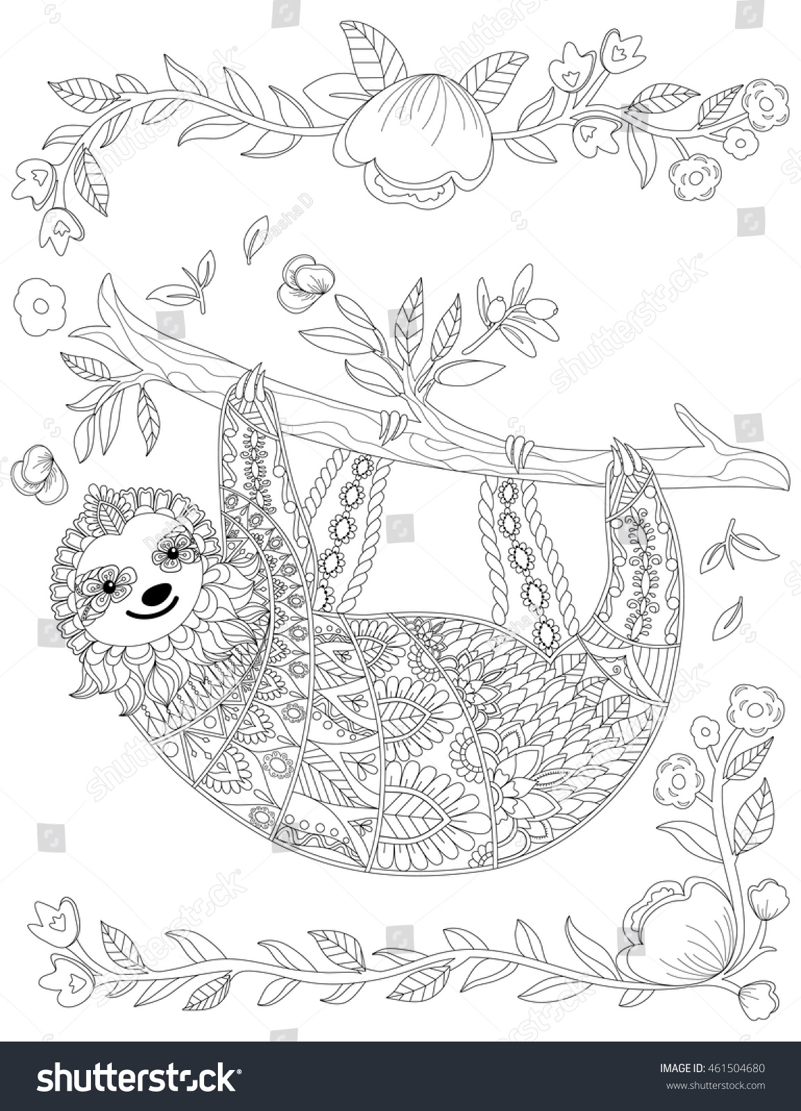 vector ornate cute sloth on tree stock vector 461504680 shutterstock