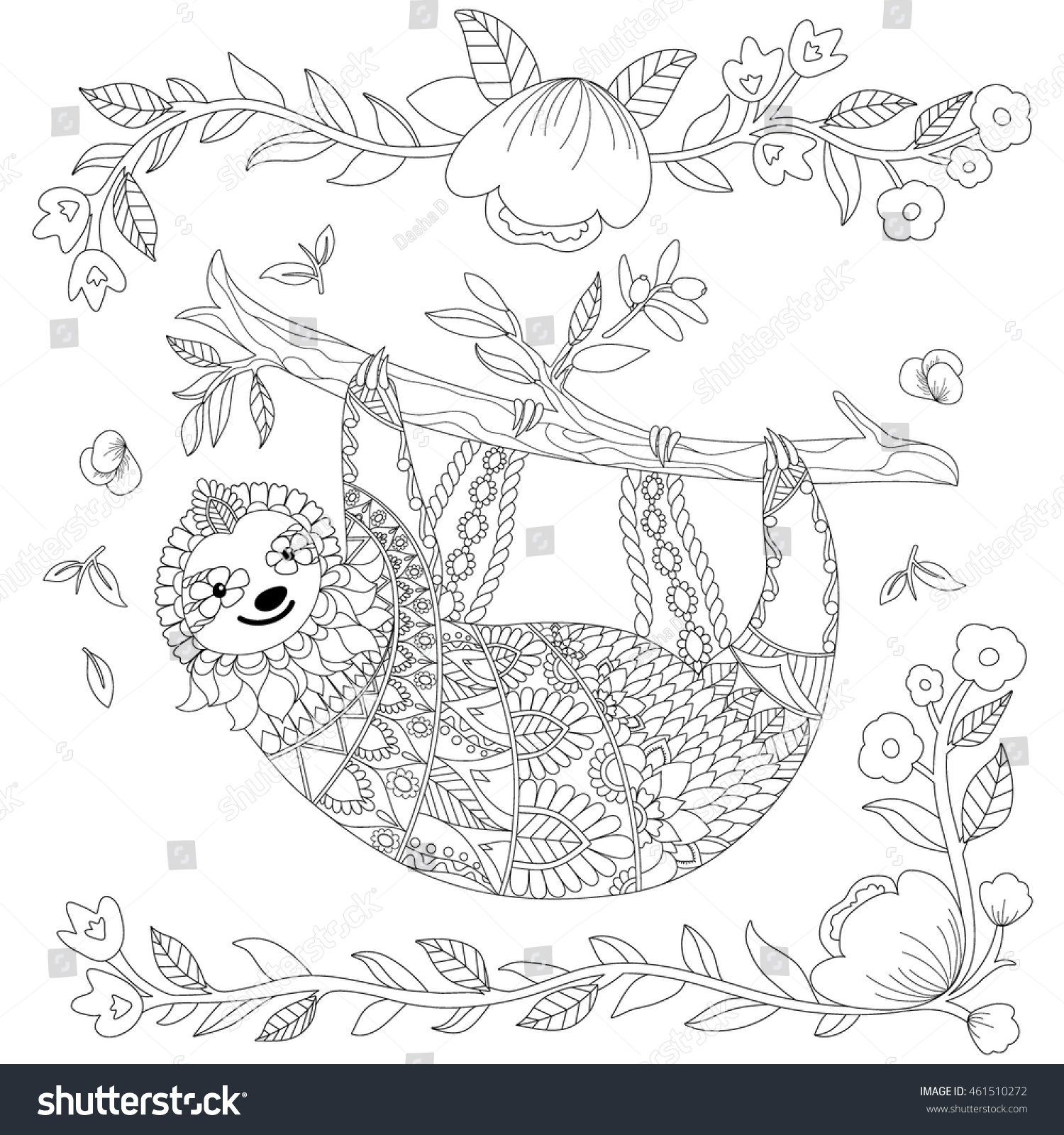 Clip Art Sloth Coloring Pages sloth coloring page futpal com vector ornate cute on tree stock 461510272 shutterstock