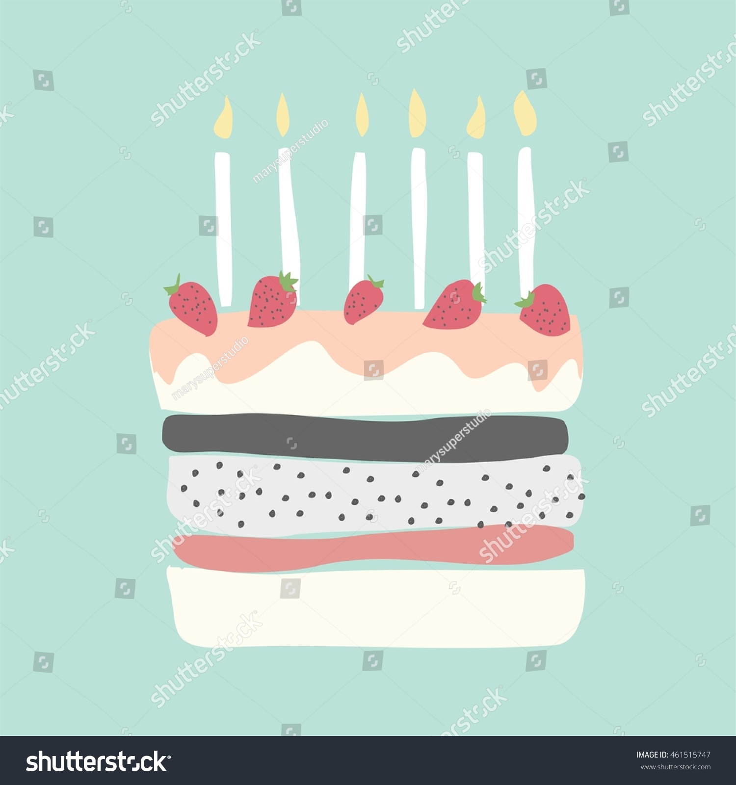Remarkable Cute Happy Birthday Card Cake Candles Stock Vector Royalty Free Funny Birthday Cards Online Eattedamsfinfo
