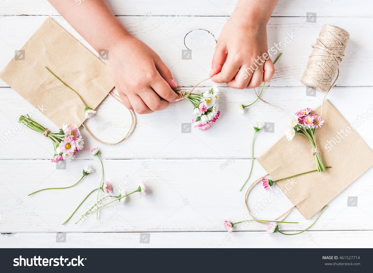 Workspace Small Bouquets Daisy Flowers Paper Stock Photo Edit Now