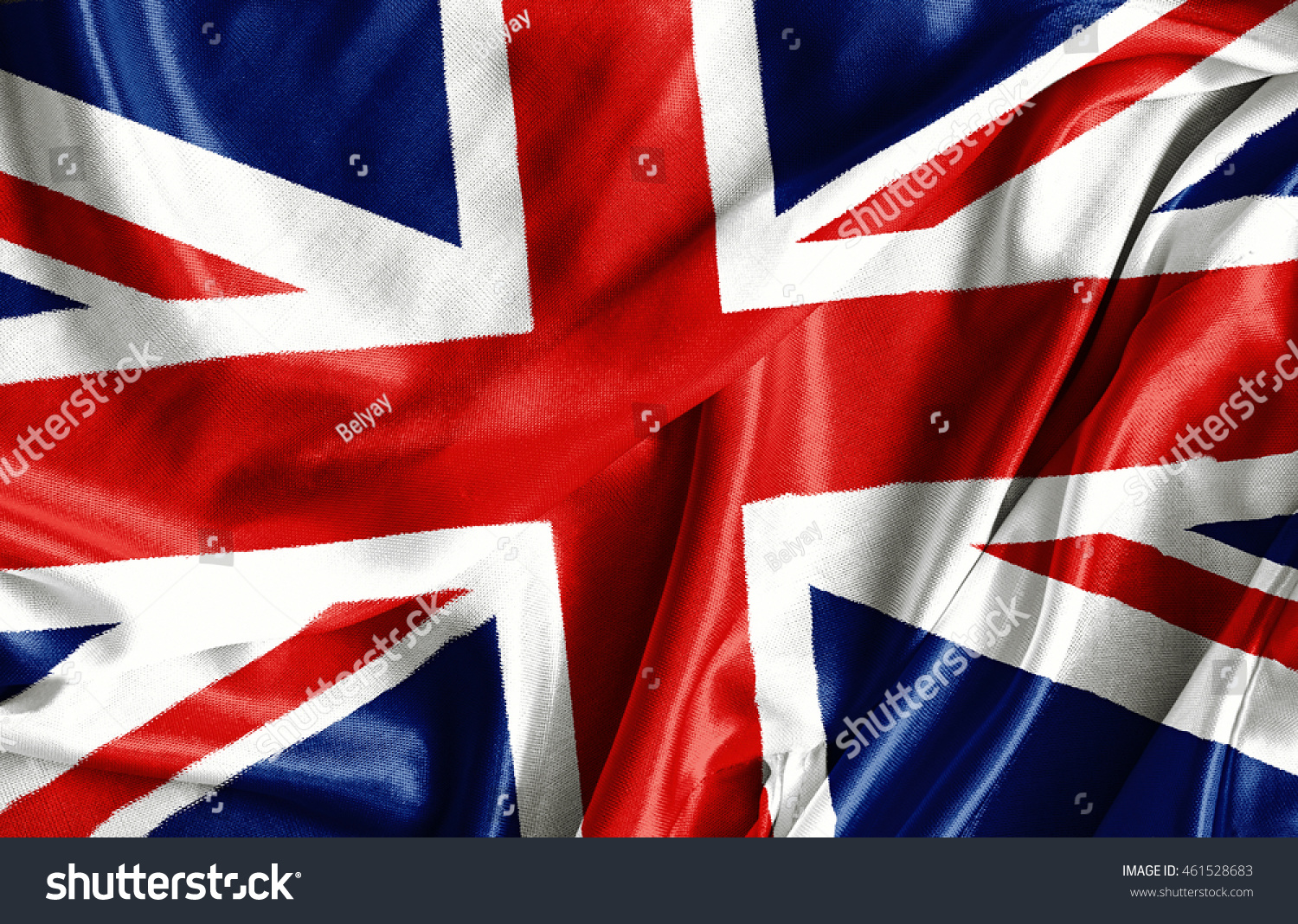 Closeup of ruffled British flag - fabric background #461528683