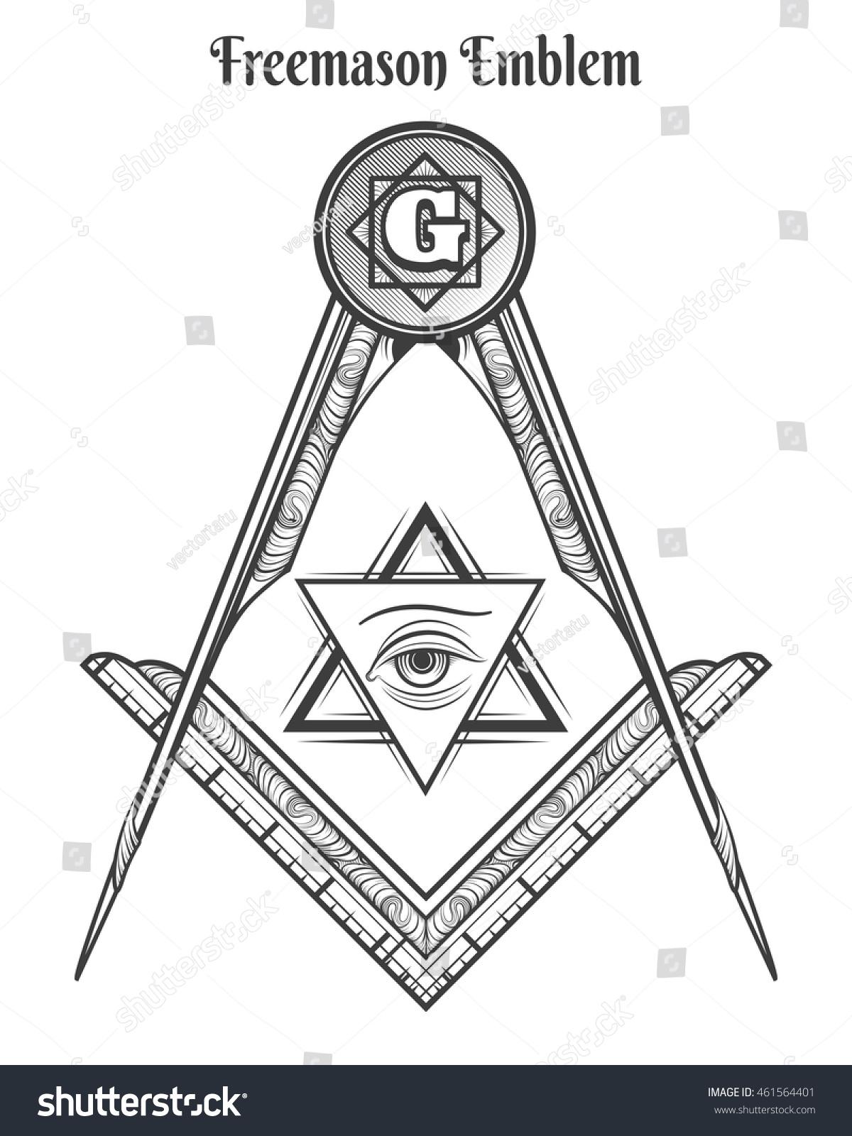 Freemason Square Compass Vector Freemasonry Signs Stock Vector