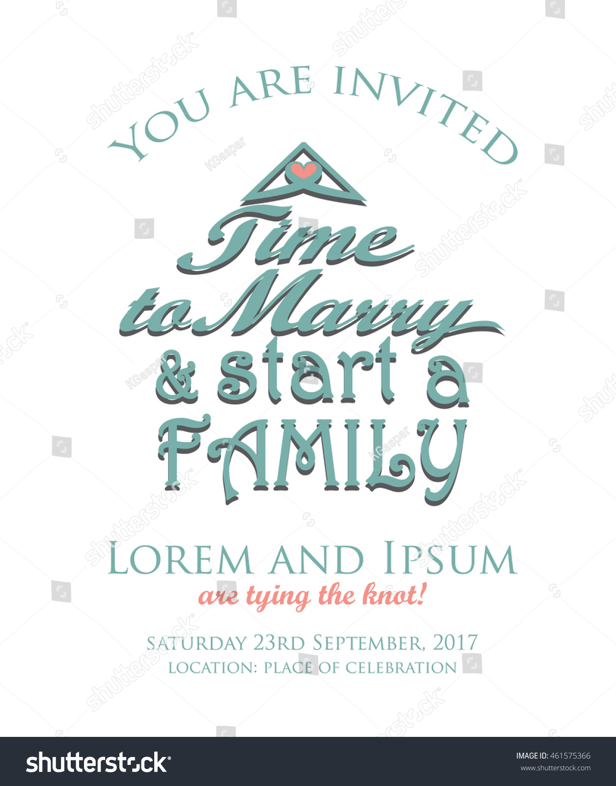 Cute wedding invitation design quote shape stock vector 461575366 cute wedding invitation design with quote in the shape of a house stopboris Images