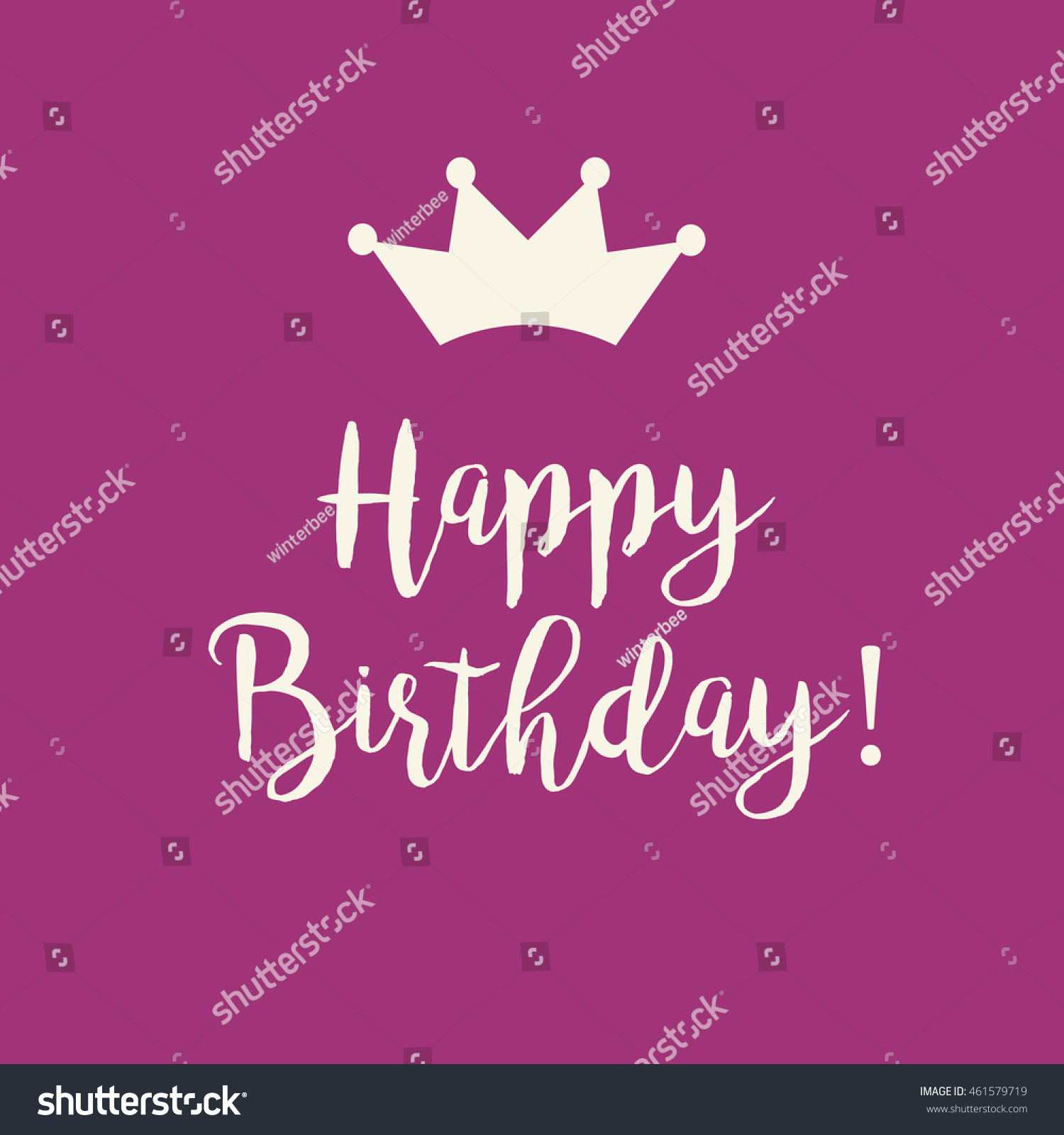 Cute Happy Birthday Card Text Princess Stock Illustration