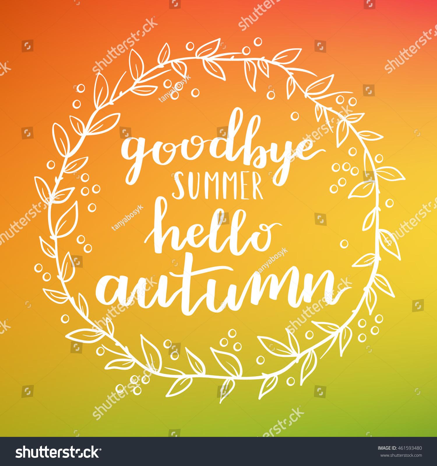 Goodbye Summer Hello Autumn Round Frame Stock Illustration 461593480 - Shutte...