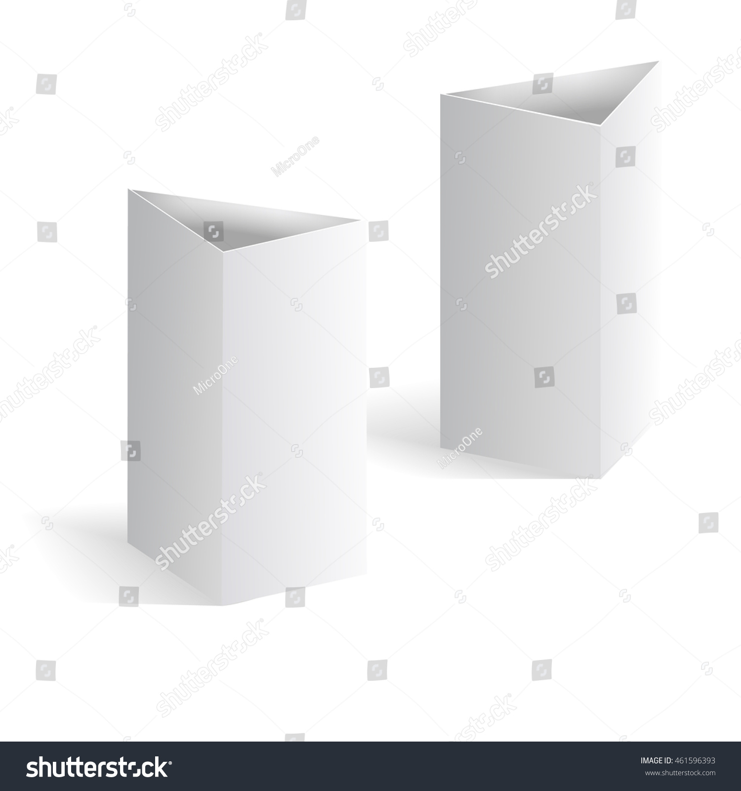 White Blank Table Tent Vector, Vertical Triangle Cards Isolated On White  Background. Template Of