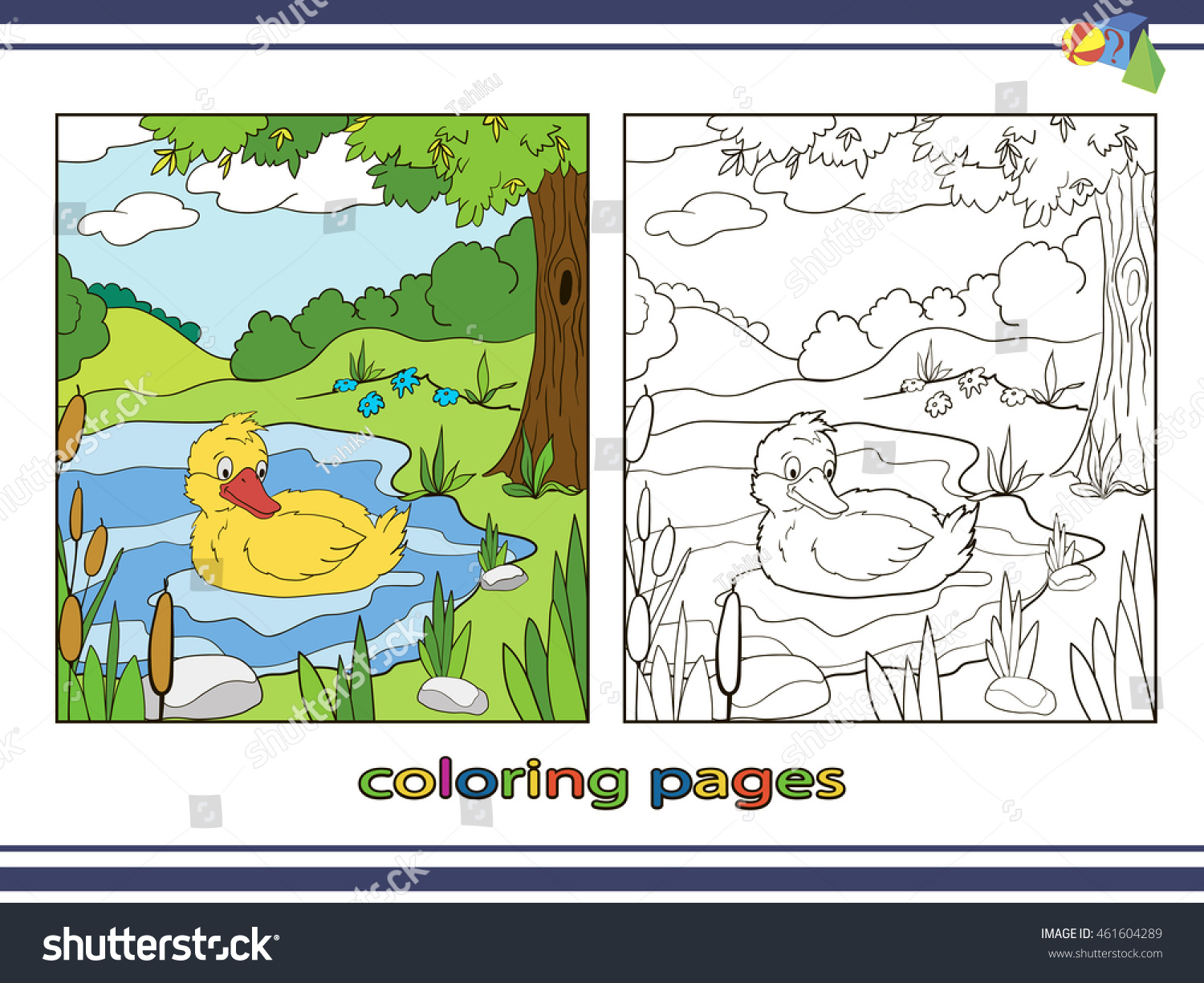 Coloring Pages Children Duck On Lake Stock Vector 461604289 ...