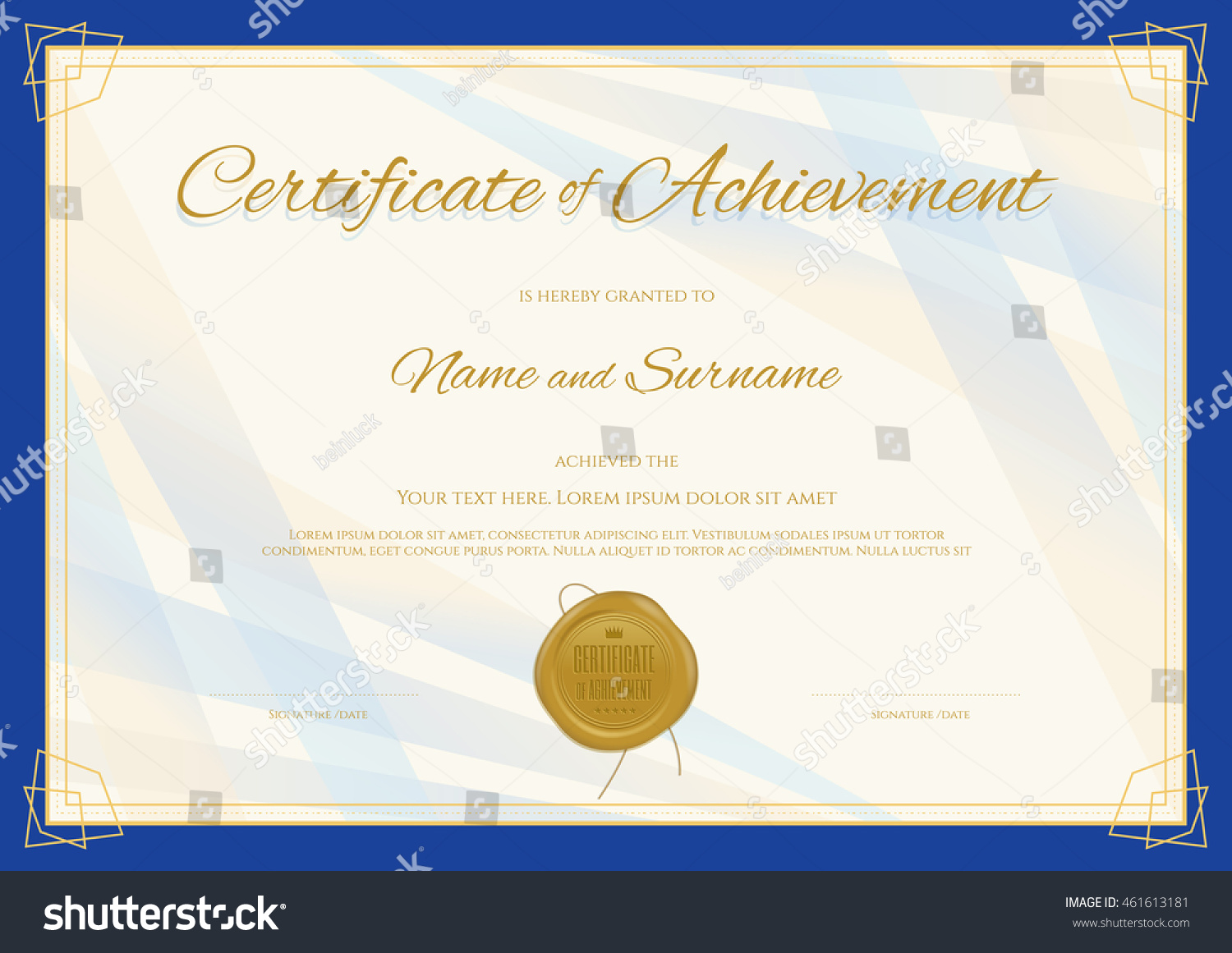 Certificate Of Achievement Template In Modern Theme With Blue Border  Certificate Achievement Template
