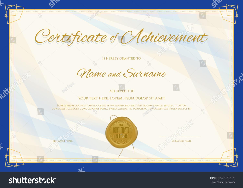 Certificate Of Achievement Template In Modern Theme With Blue Border  Certificate Achievement Template