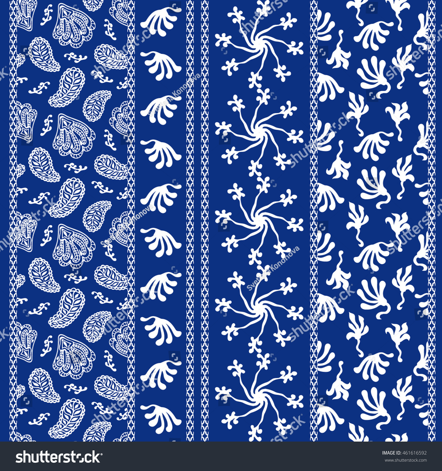 Set Batik Borders Floral Seamless Pattern Stock Vector 2018