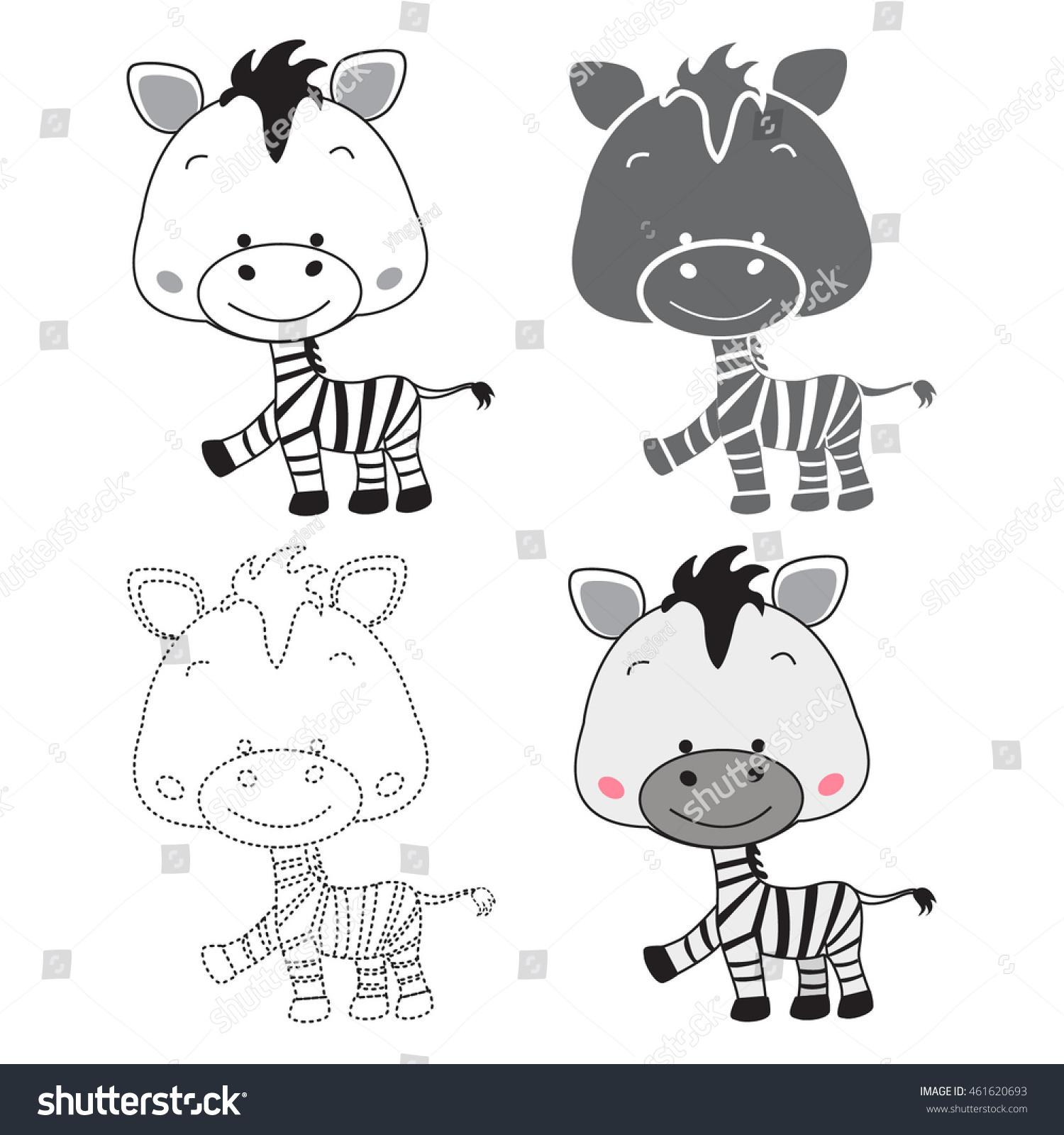cartoon zebra dot to dot educational game for kidsshadow of zebra