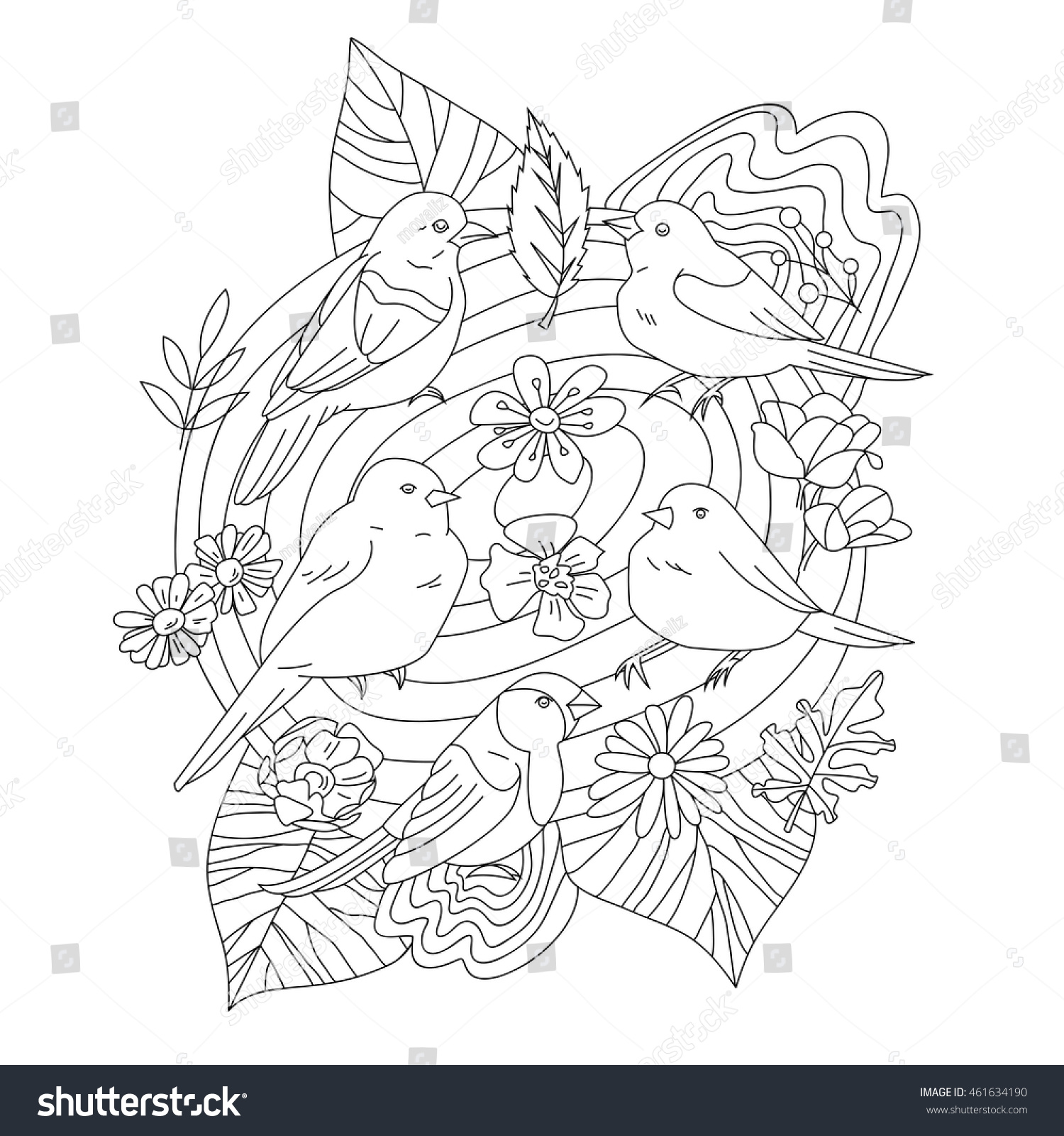 Coloring book outlines - Vector Outlines For Adult Coloring Book Page Cute Birds In Nest With Leaves And Flowers