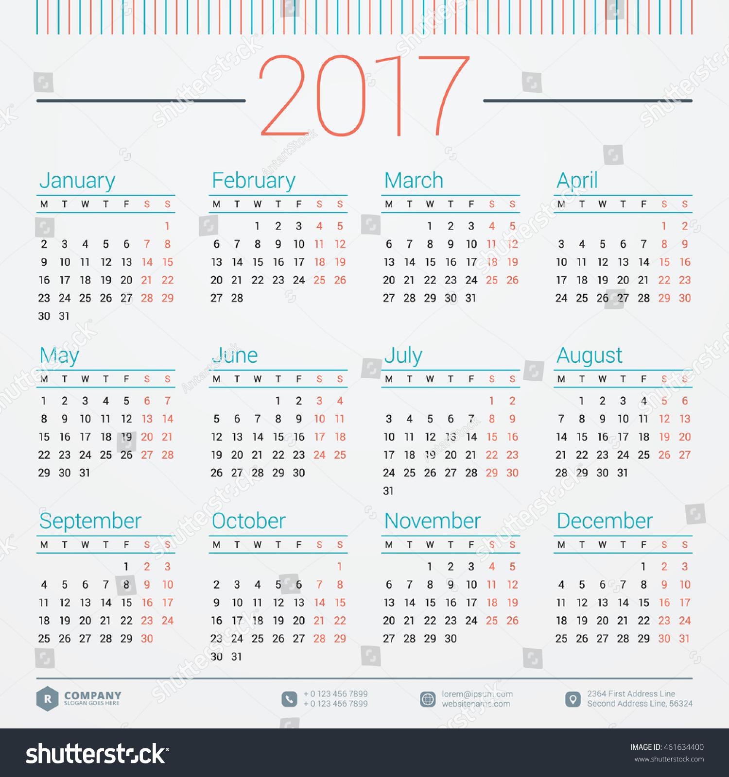 Year Calendar Vector : Calendar year vector design stationery stock