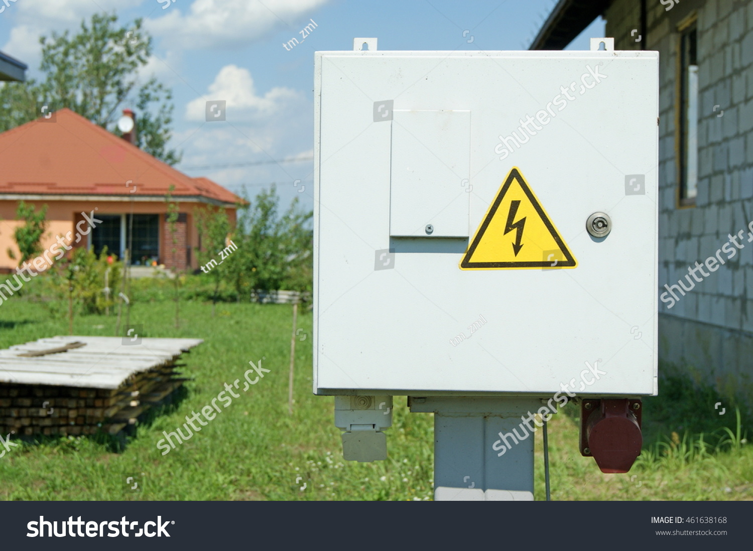 Power Distribution Wiring Switchboard Panel Outdoor Stock Photo Box Unit Distributing Board Compartment Yellow High Voltage