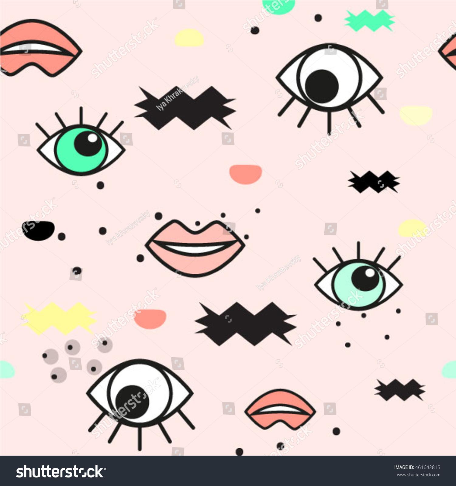 Eye Lips Abstract Geometry Vector Pattern Stock Vector